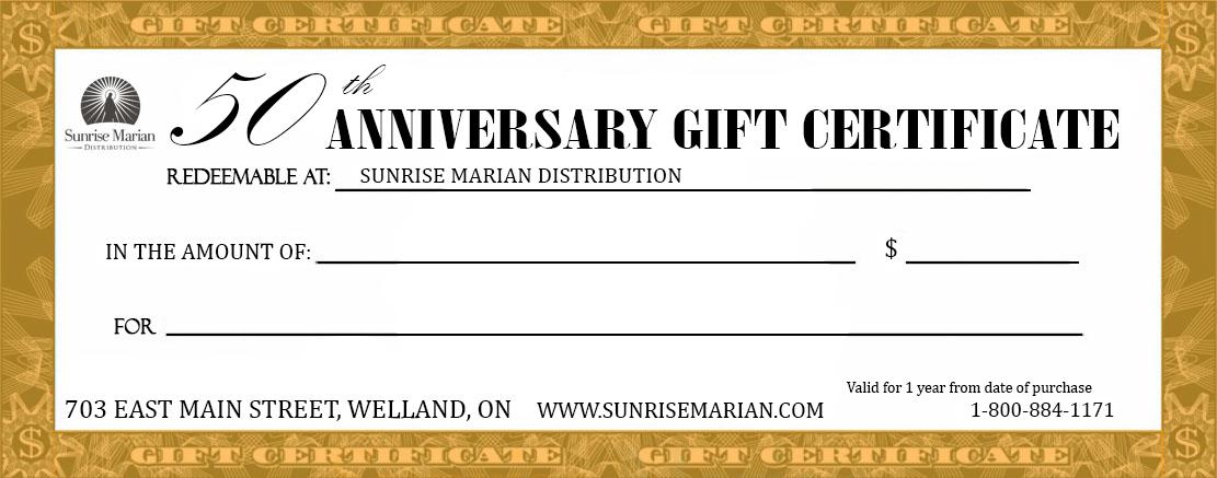50th Catholic Wedding Anniversary Gift Certificate 50 Wedding