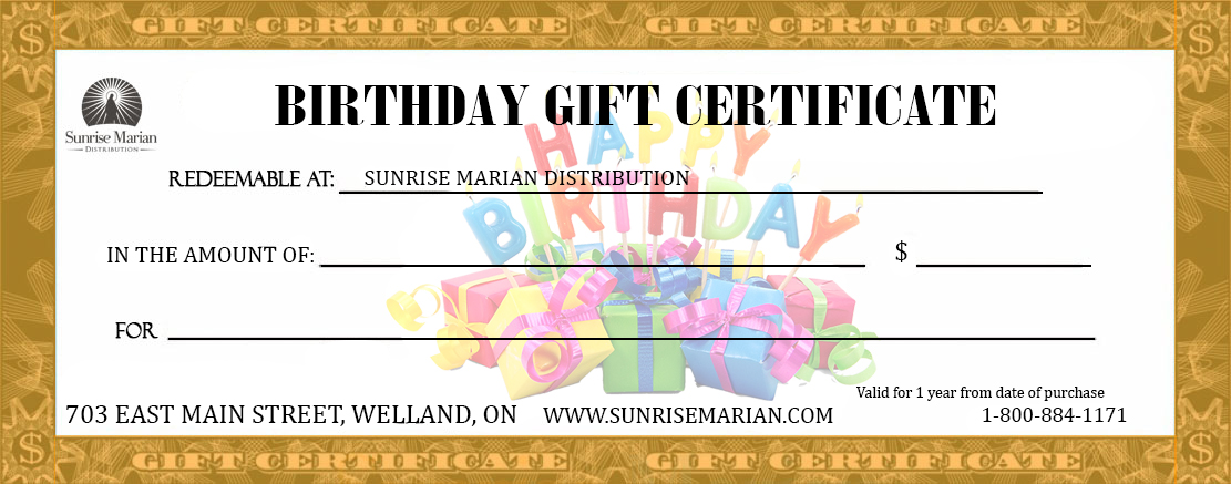 Catholic Birthday Gift Certificate