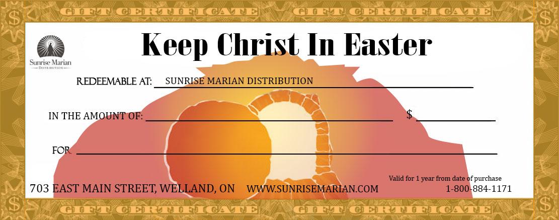Catholic gift certificates sunrise marian distribution easter catholic gift certificate negle Images