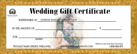 catholic wedding gift certificate wedding gift certificate